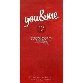 You & Me Strawberry průhledný lubrikovaný kondom s vůní jahod 12 kusů