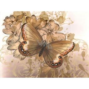 Nekupto Dárková kraftová taška malá 23 x 18 x 10 cm Béžová s motýlem 1 kus 244 CM