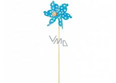 Větrník s velkými puntíky modrý 9 cm + špejle 1 kus