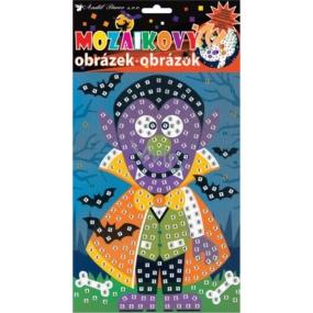 Mozaikový hrací set Halloween fialový mužík 23 x 16 cm