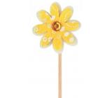 Květinka z filcu žlutá 4 cm + špejle