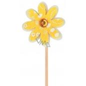 Květinka z filcu žlutá zápich 4 cm + špejle