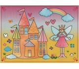 Magické malování vodou se štětcem Princezna s hradem 20 x 15 cm