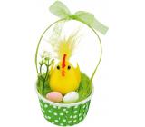 Kuřátko s vejci v zeleném košíku 12 cm