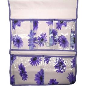 Kapsář do koupelny na zavěšení fialový 48 x 36 cm 5 kapes 671