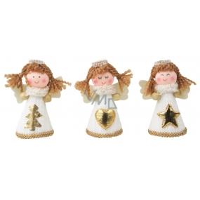 Anděl v bílých pletených šatech na postavení 8 cm 1 kus