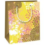 Ditipo Dárková papírová taška malá, žlutá s barevnými motivy 11,4 x 6,4 x 14,6 cm E