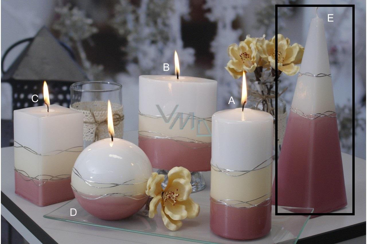 Lima Verona svíčka starorůžová jehlan 75 x 250 mm 1 kus