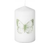 Emocio Svíčka válec s potiskem Motýl bílá 58 x 100 mm