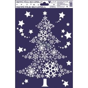 Okenní fólie bez lepidla s glitrem, obrázky z vloček stromek 30 x 20 cm