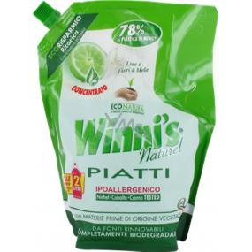 Winnis Piatti Lime Ecoricarica na ruční mytí nádobí Ekologický koncentrovaný hypoalergenní mycí prostředek 1 l