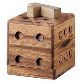 Albi Hlavolam 3D Cube, Dřevěný designový hlavolam, 9 x 9 x 9 cm
