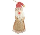 Santa z juty na pověšení 13 cm