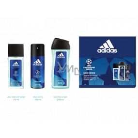 Adidas UEFA Champions League Dare Edition VI parfémovaný deodorant sklo pro muže 75 ml + sprchový gel 250 ml + deodorant sprej 150 ml, kosmetická sada