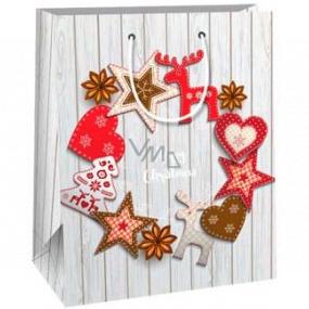 Ditipo Dárková papírová taška 26,4 x 13,6 x 32,7 cm šedá Merry Christmas
