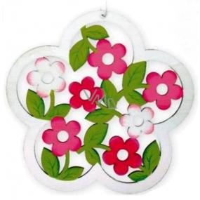 Květ vyřezávaný bílý na zavěšení 18 cm 1 kus