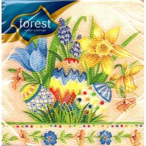 Forest Květiny + vajíčka velikonoční ubrousky 33 x 33 cm 1 vrstvé 20 kusů