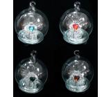 Koule skleněná s andělem svítící Led 6 cm 1 kus