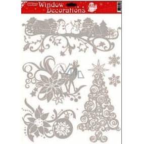 Okenní fólie bez lepidla se stříbrnými glitry stromeček 42 x 30 cm
