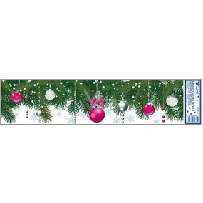 Okenní fólie bez lepidla ozdobené větvičky růžové 64 x 15 cm