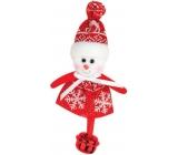 Sněhulák červenobílý s rolničkou na zavěšení 10 cm
