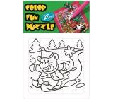 Omalovánky skládací vánoční motiv Medvěd na lyžích 25 dílků 18 x 12 cm