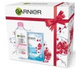 Garnier Skin Naturals Micelární voda 3v1 pro citlivou pleť 400 ml + Moisture + Aqua Bomb superhydratační vyplňující textilní pleťová maska 15 minutová 32 g, kosmetická sada