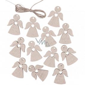 Anděl dřevěný závěsný stříbrný 3 cm 12 kusů