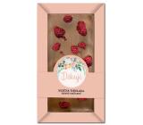 Bohemia Gifts Děkuji ručně vyráběná mléčná čokoláda sypaná malinami 80 g