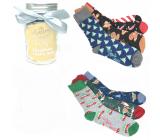 Epee Vánoční ponožky ve skleněné láhvi s uchem pro muže mix motivů 1 pár, dárkové balení