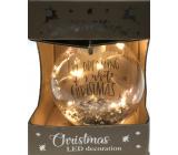 Epee Stříbrná baňka zářivá ozdoba s LED - I'm Dreaming of a White Christmas na zavěšení 6 cm