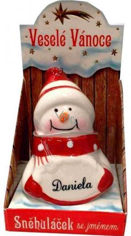 Nekupto Sněhuláček se jménem Daniela Vánoční dekorace rozměr 8 cm