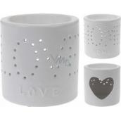Bolsius Aromalampa keramika s nápisem Love bílá 100 mm