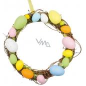 Věnec z proutí s barevnými plastovými vajíčky 25 cm