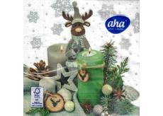 Aha Vánoční papírové ubrousky Sob se svíčky 3 vrstvé 33 x 33 cm 20 kusů