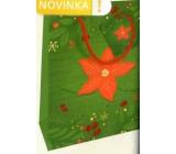 Nekupto Dárková papírová taška 23 x 18 x 10 cm Vánoční zelená s vánoční hvězdou WBM 1941 50