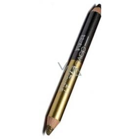 Princessa Davis Eye Double Colour oční stíny v tužce + ořezávátko 016 šedá a zlatá 6 g