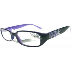 Berkeley Čtecí dioptrické brýle +1,50 černofialové s kytkama 1 kus MC 2103