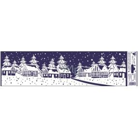 Okenní fólie bez lepidla vánoční krajinka pruh vesnice 45 x 12 cm