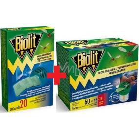Biolit Proti komárům elektrický odpařovač proti komárům s tekutou náplní 60 nocí 46 ml + Biolit Polštářky do elektrického odpuzovače komárů náplň 20 kusů