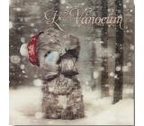 Me to You Blahopřání do obálky 3D K Vánocům, Medvídek s lucernou 15,5 x 15,5 cm