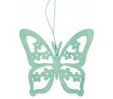 Motýl na zavěšení dřevěbý 12 cm, tyrkysový
