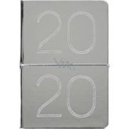 Albi Diář 2020 týdenní metalický Stříbrný 19 x 13 x 0,7 cm