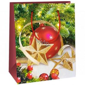 Ditipo Dárková papírová taška 11,5 x 6,5 x 14,5 cm červená baňka zlaté hvězdy E
