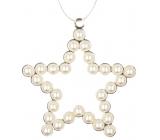 Hvězda kovová závěsná s perlami 9 cm