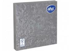 Aha Papírové ubrousky 3 vrstvé 33 x 33 cm 15 kusů Ražené stříbrné