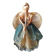 Anděl s šedou sukní a píšťalou 20 cm