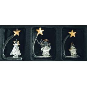 Anděl Sada ze skla l, stromek, svíčka 6 cm