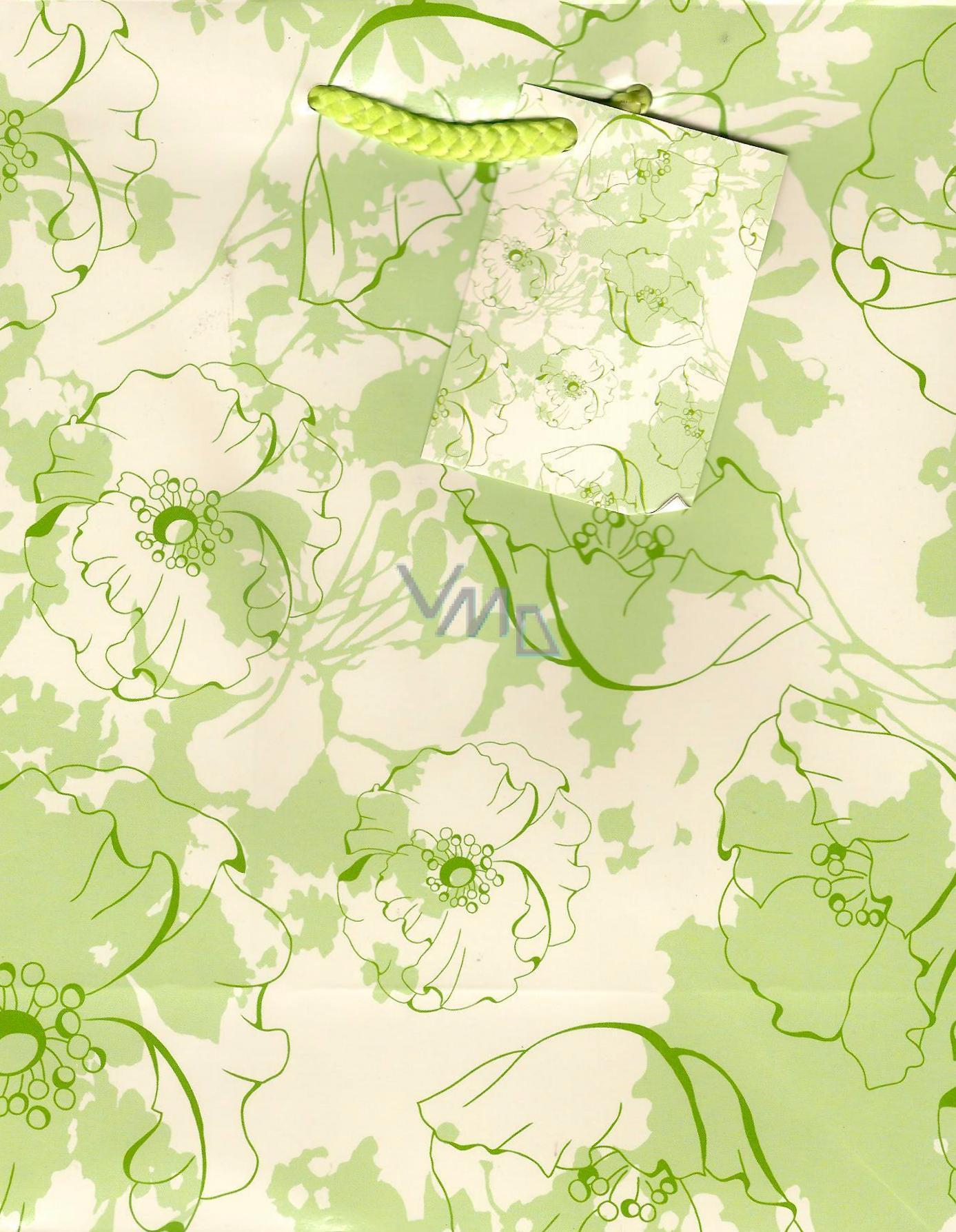 Nekupto Dárková papírová taška střední 23 x 18 x 10 cm Světle zelená květy 1 kus 829 50 BM