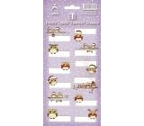 Arch Vánoční etikety samolepky Sovičky fialový arch 706 12 etiket